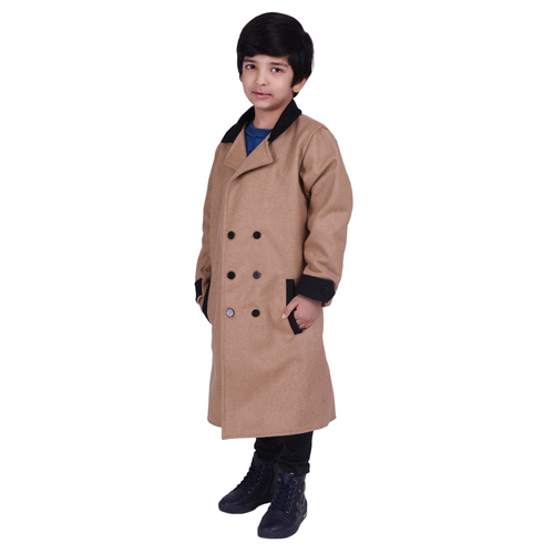 Beige Colour Kids Woolen Coat