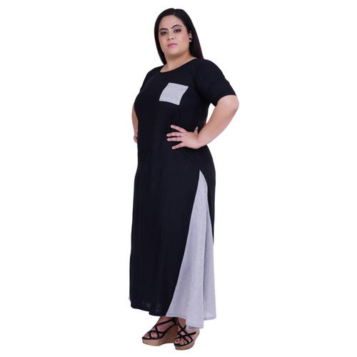 Black Colour Maxi Style Rayon Kurti