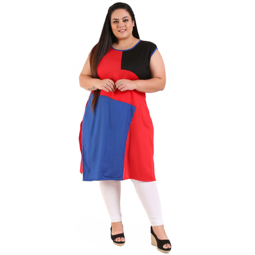 Multi Colour Straight Rayon Kurti