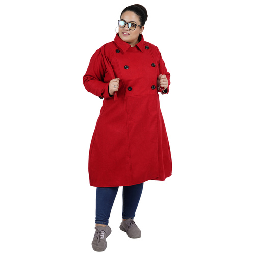 Red Colour Long Woolen Coat