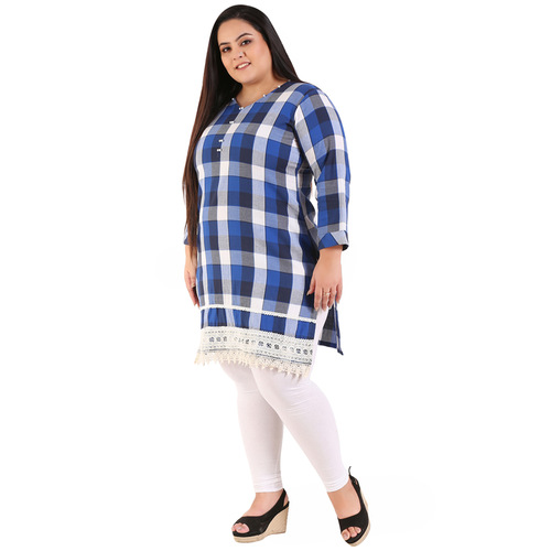 Blue Colour Checked Straight Woolen Kurti
