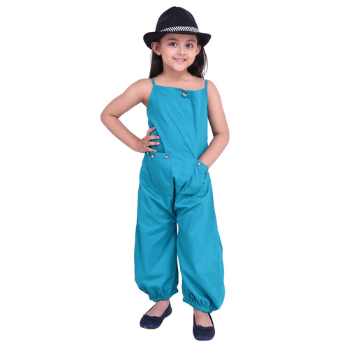 Firozi Colour Cotton Satin Jumpsuit