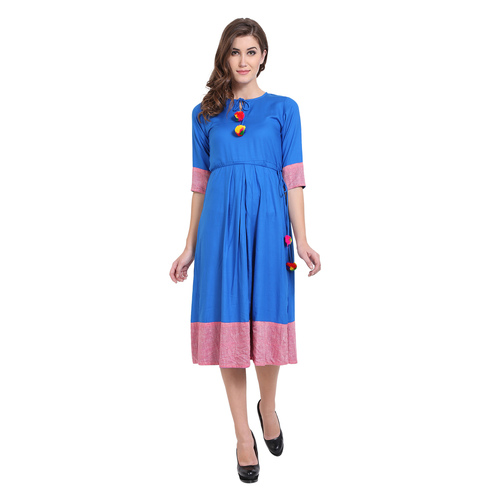 Blue & Pink Colour Rayon Dress