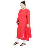 Red Colour Straight Rayon Kurti