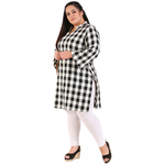 Black Colour Straight Checked Woolen Kurti