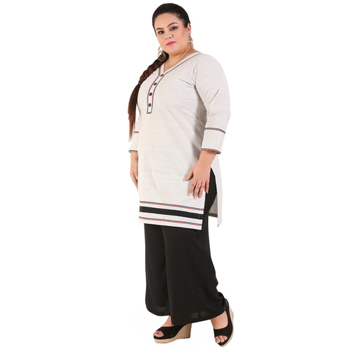 Grey Colour Straight Khadi Kurti