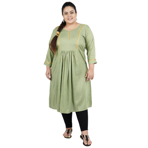 Light Green Colour Straight Rayon Feeding Kurti