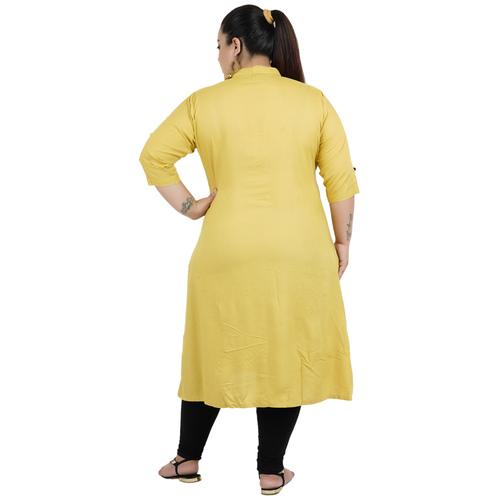 Khaki Colour Straight Rayon Kurti