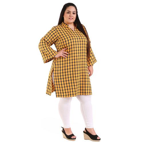 Yellow Colour Straight Checked Woolen Kurti