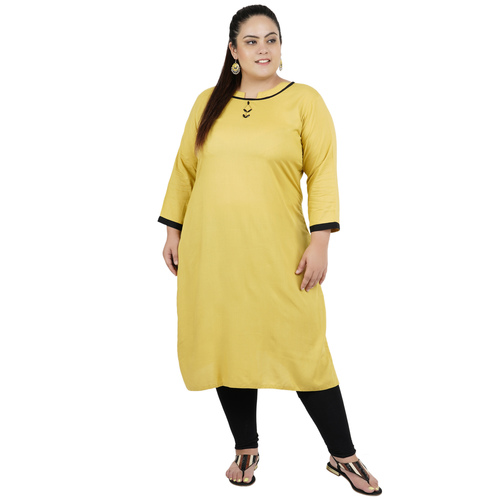 Mustard Colour Straight Rayon Kurti