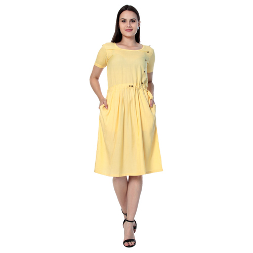 Lemon Yellow Colour Rayon Dress