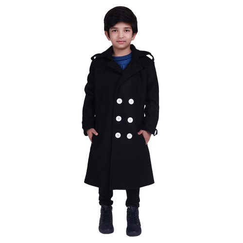 Black Colour Kids Woolen Coat