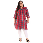 Red Colour Straight Checked Woolen Kurti