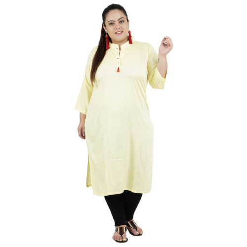 Lemon Yellow Colour Straight Rayon Kurti
