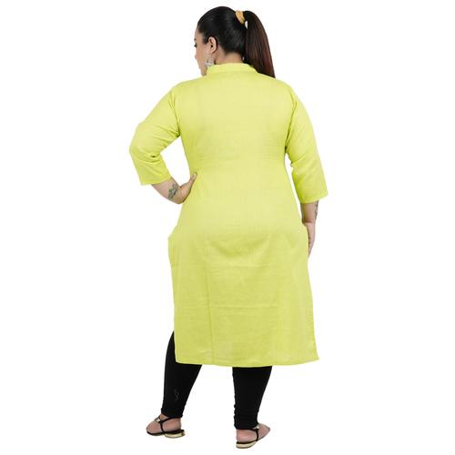 Lemon Yellow Colour Straight Rayon Kurti