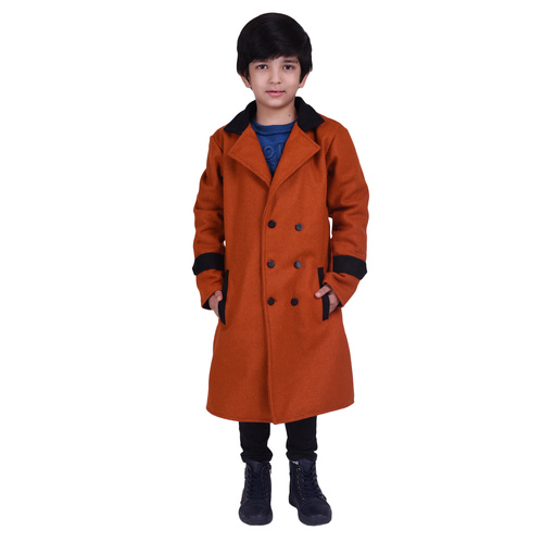 Orange Colour Kids Woolen Coat