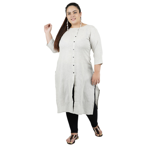Grey Colour Straight Cotton Kurti