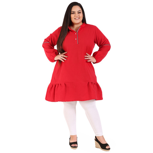 Red Colour Straight Woolen Kurti
