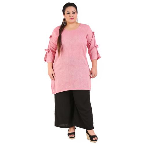 Pink Colour Straight Khadi Kurti
