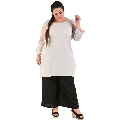 Grey Colour Straight Khadi Kurti