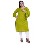 Green Colour Ball Sleeve Rayon Kurtis