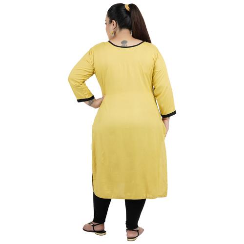 Mustard Colour Straight Rayon Kurti