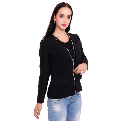 Black Colour Short Woolen Coat