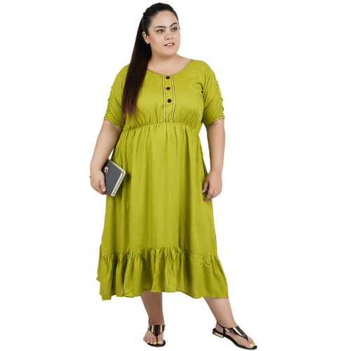 Green Colour Rayon Dress