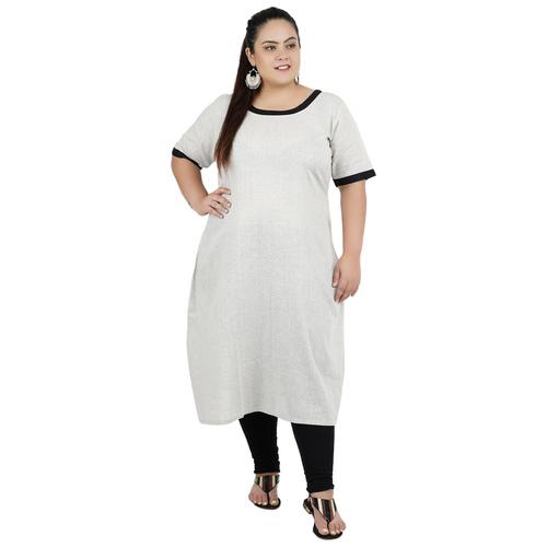 Grey Colour Straight Cotton Kurti