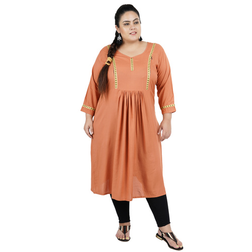 Light Brown Colour Straight Rayon Feeding Kurti