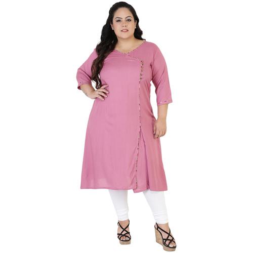 Pink Colour Angrakha Rayon Kurti