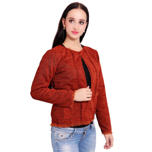Orange Colour Short Jute Coat