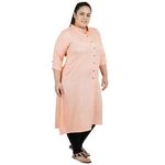Light Orange Colour Straight Rayon Kurti