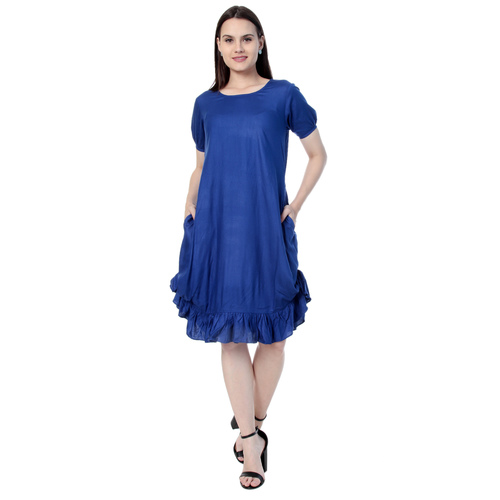 Blue Colour Rayon Dress