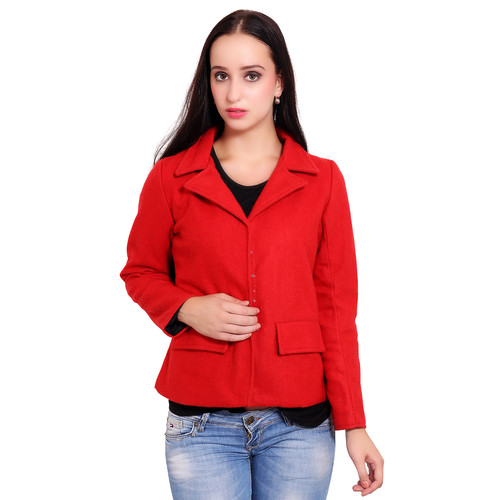 Red Colour Short Woolen Coat