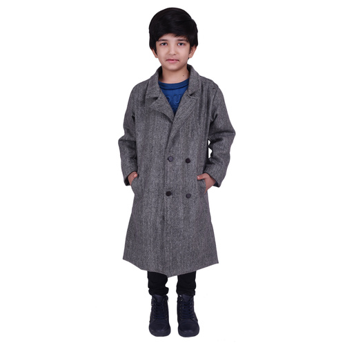 Grey Colour Kids Woolen Coat