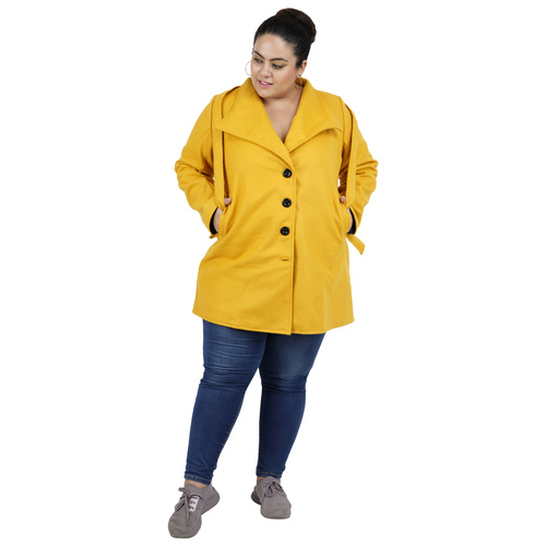 Yellow Colour Short Woolen Coat