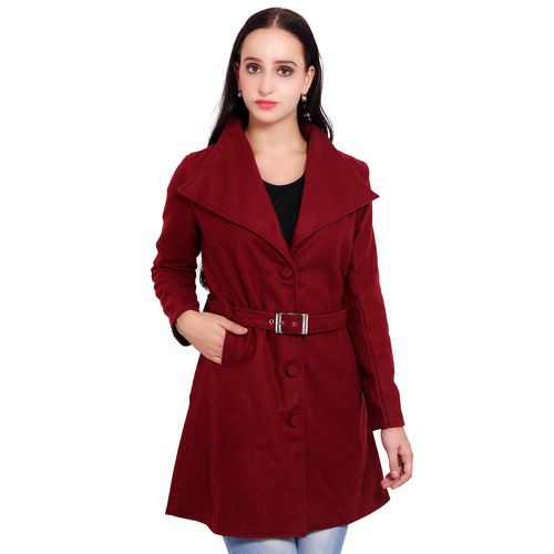 Maroon Colour Long Woolen Coat