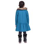 Firozi Colour Kids Woolen Coat with Artificial Fur