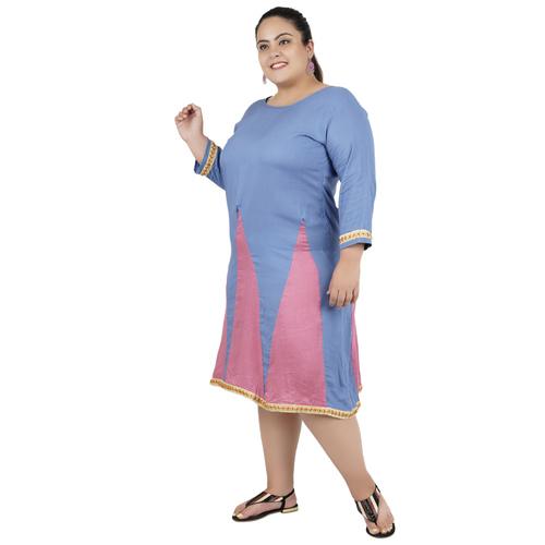 Grey & Pink Colour Rayon Dress