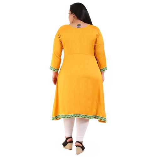 Yellow Colour Straight Rayon Kurti