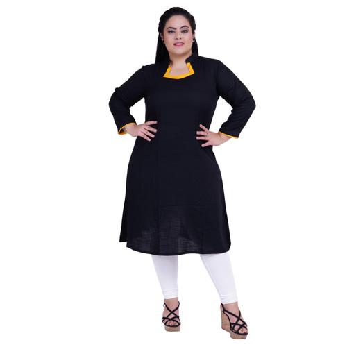 Black Colour Straight Rayon Kurti