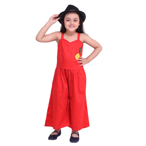 Red Colour Cotton Satin Jumpsuit