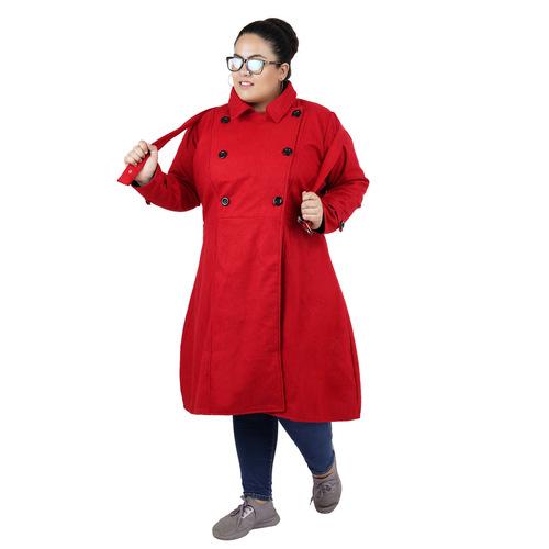 Red Colour Long Woolen Coat