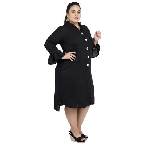 Black Colour Shirt Style Rayon Dress