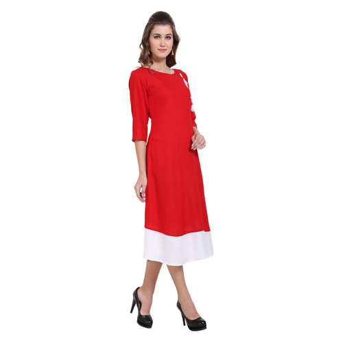 Red & Cream Colour Rayon Dress