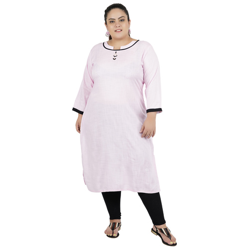 Baby Pink Colour Straight Rayon Kurti