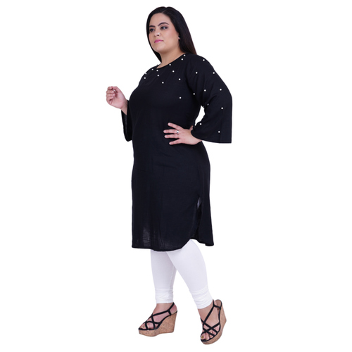 Black Colour Rayon Kurti Embedded with Beads