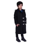 Black Colour Kids Woolen Coat