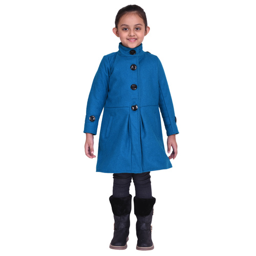 Firozi Colour Kids Woolen Coat